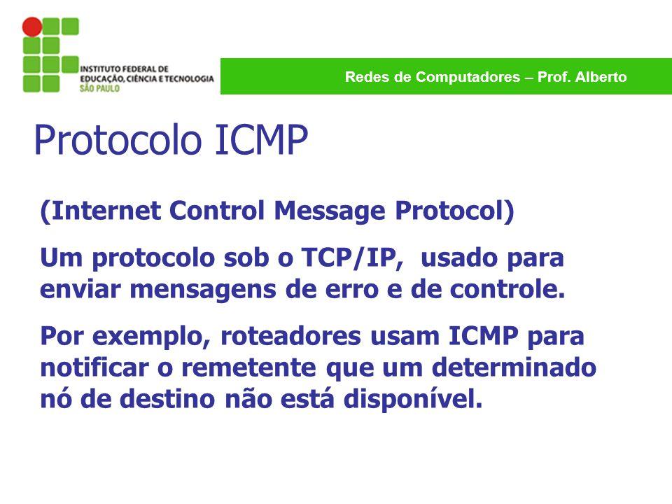 Redes de Computadores – Prof. Alberto Protocolo ICMP (Internet Control Message Protocol) Um protocolo sob o TCP/IP, usado para enviar mensagens de err
