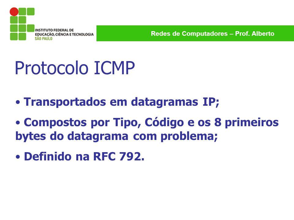Redes de Computadores – Prof. Alberto Protocolo ICMP Transportados em datagramas IP; Compostos por Tipo, Código e os 8 primeiros bytes do datagrama co
