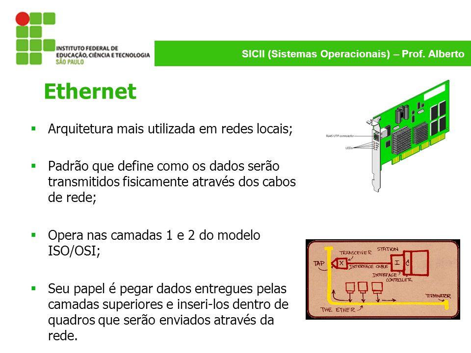 SICII (Sistemas Operacionais) – Prof. Alberto Ethernet Arquitetura mais utilizada em redes locais; Padrão que define como os dados serão transmitidos