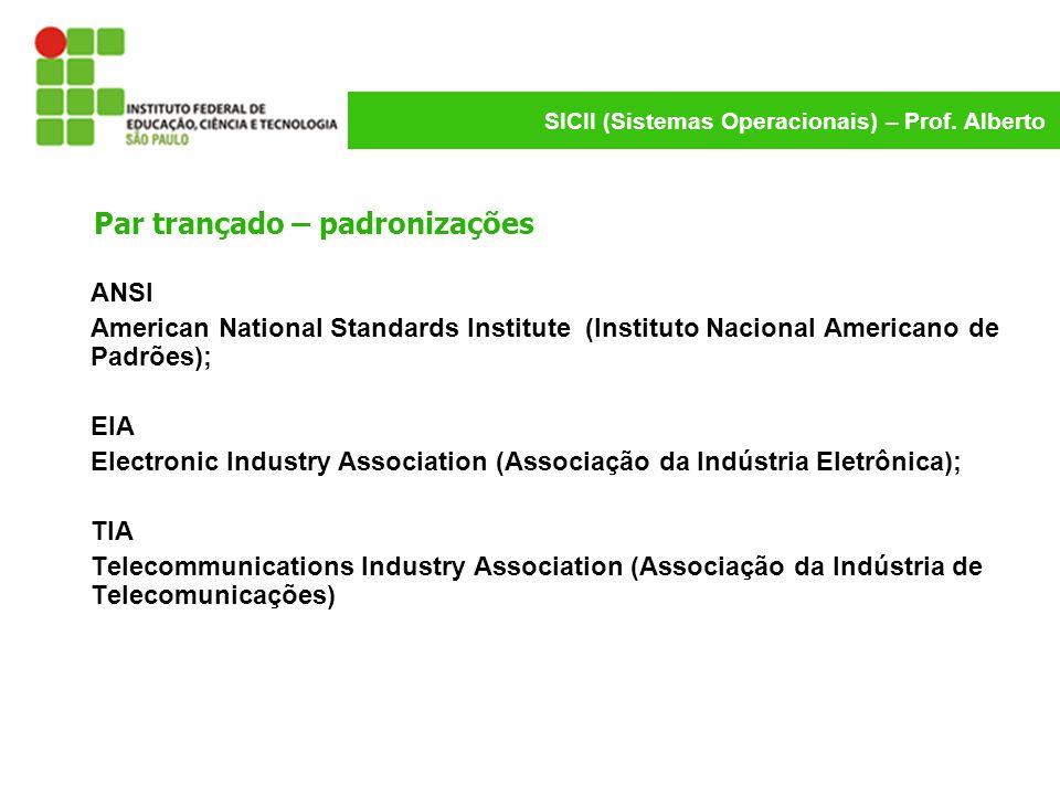 SICII (Sistemas Operacionais) – Prof. Alberto Par trançado – padronizações ANSI American National Standards Institute (Instituto Nacional Americano de