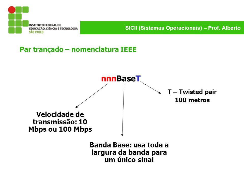 SICII (Sistemas Operacionais) – Prof. Alberto Par trançado – nomenclatura IEEE nnnBaseT Velocidade de transmissão: 10 Mbps ou 100 Mbps Banda Base: usa