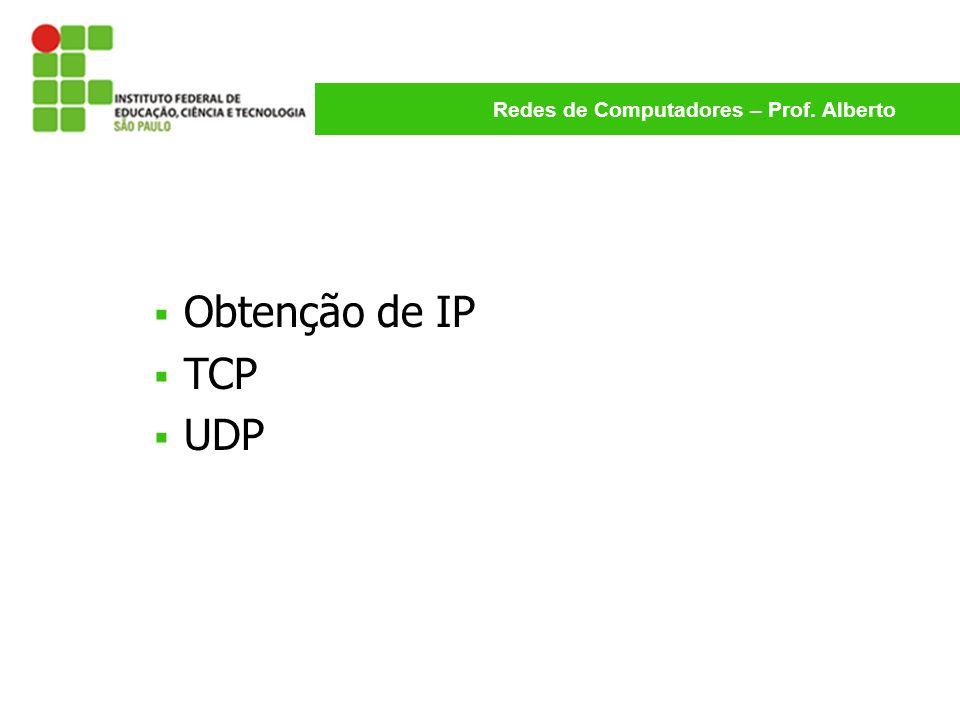 Redes de Computadores – Prof. Alberto Obtenção de IP TCP UDP