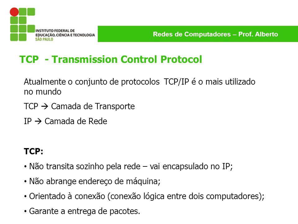 Redes de Computadores – Prof. Alberto TCP - Transmission Control Protocol Atualmente o conjunto de protocolos TCP/IP é o mais utilizado no mundo TCP C