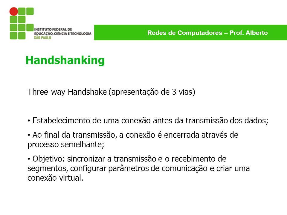 Redes de Computadores – Prof. Alberto Three-way-Handshake (apresentação de 3 vias) Estabelecimento de uma conexão antes da transmissão dos dados; Ao f