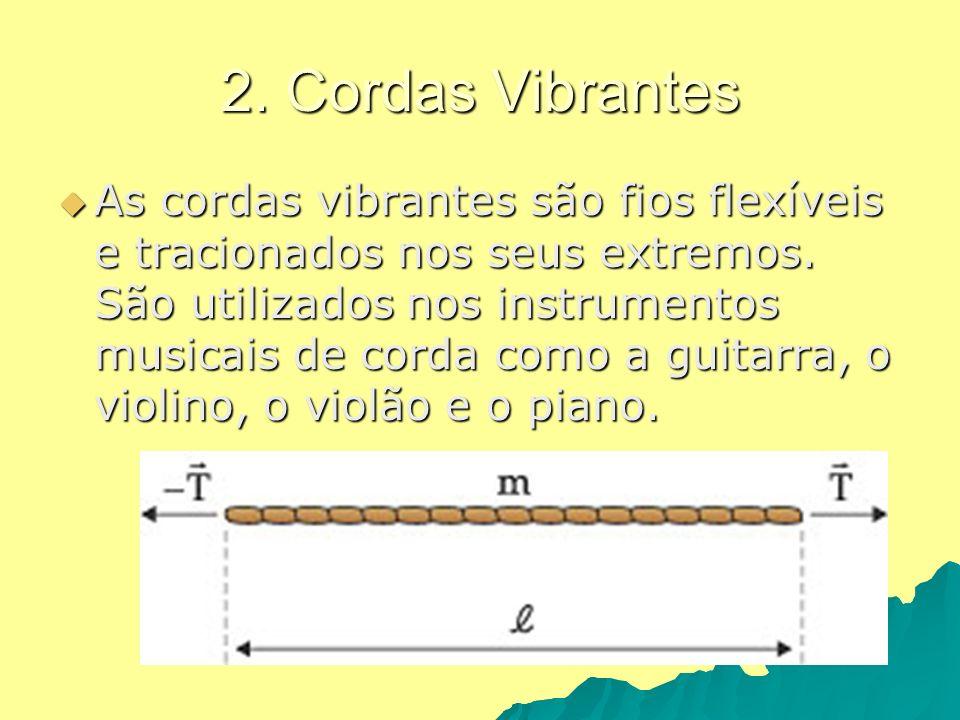 2. Cordas Vibrantes As cordas vibrantes são fios flexíveis e tracionados nos seus extremos. São utilizados nos instrumentos musicais de corda como a g