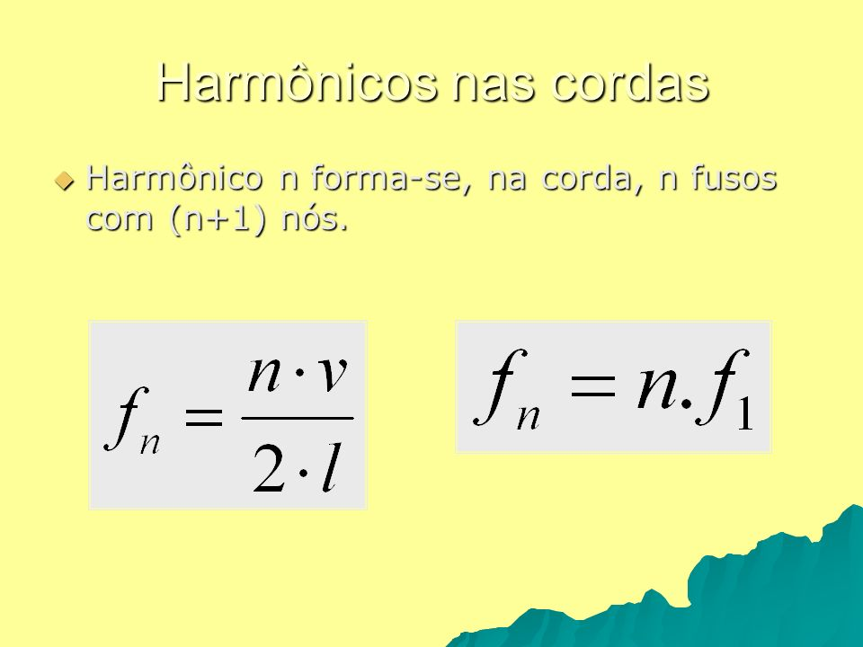 Harmônicos nas cordas Harmônico n forma-se, na corda, n fusos com (n+1) nós. Harmônico n forma-se, na corda, n fusos com (n+1) nós.
