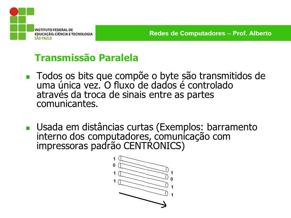 Redes de Computadores – Prof. Alberto Transmissão Paralela Todos os bits que compõe o byte são transmitidos de uma única vez. O fluxo de dados é contr