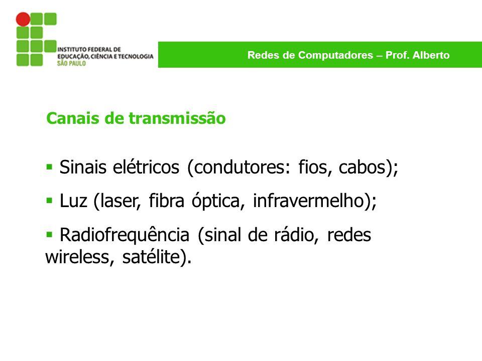 Redes de Computadores – Prof. Alberto Canais de transmissão Sinais elétricos (condutores: fios, cabos); Luz (laser, fibra óptica, infravermelho); Radi