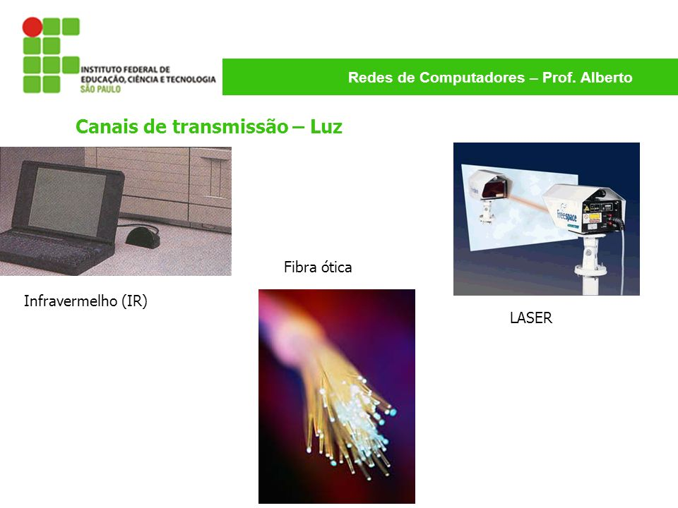 Redes de Computadores – Prof. Alberto Canais de transmissão – Luz Infravermelho (IR) Fibra ótica LASER