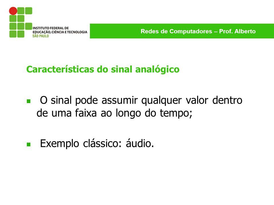 Redes de Computadores – Prof. Alberto Características do sinal analógico O sinal pode assumir qualquer valor dentro de uma faixa ao longo do tempo; Ex