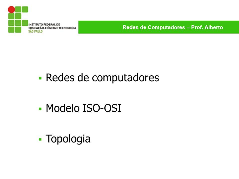 Redes de Computadores – Prof. Alberto Redes de computadores Modelo ISO-OSI Topologia