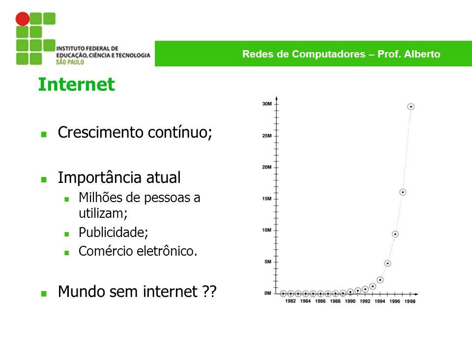 Redes de Computadores – Prof. Alberto Internet Crescimento contínuo; Importância atual Milhões de pessoas a utilizam; Publicidade; Comércio eletrônico