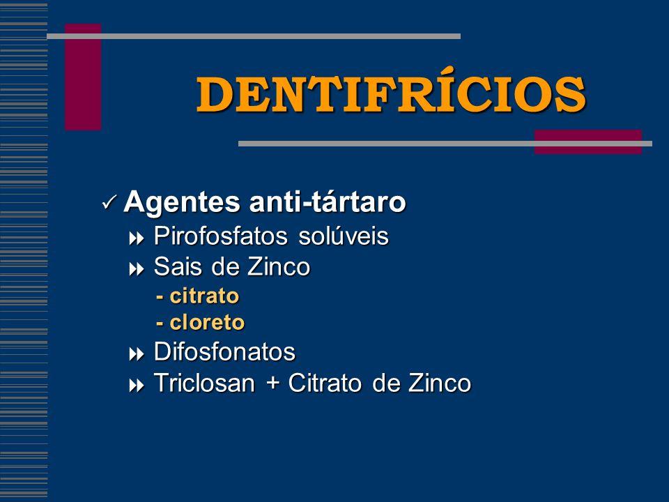 DENTIFRÍCIOS Agentes anti-tártaro Agentes anti-tártaro Pirofosfatos solúveis Pirofosfatos solúveis Sais de Zinco Sais de Zinco - citrato - citrato - cloreto - cloreto Difosfonatos Difosfonatos Triclosan + Citrato de Zinco Triclosan + Citrato de Zinco