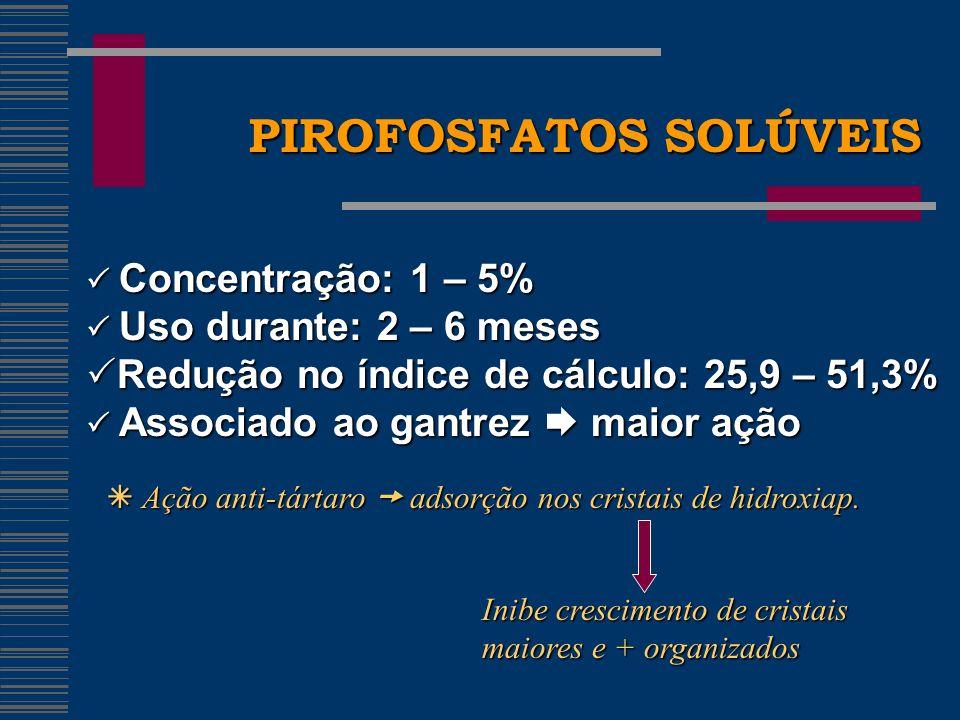 PIROFOSFATOS SOLÚVEIS Concentração: 1 – 5% Concentração: 1 – 5% Uso durante: 2 – 6 meses Uso durante: 2 – 6 meses Redução no índice de cálculo: 25,9 – 51,3% Redução no índice de cálculo: 25,9 – 51,3% Associado ao gantrez maior ação Associado ao gantrez maior ação Ação anti-tártaro adsorção nos cristais de hidroxiap.