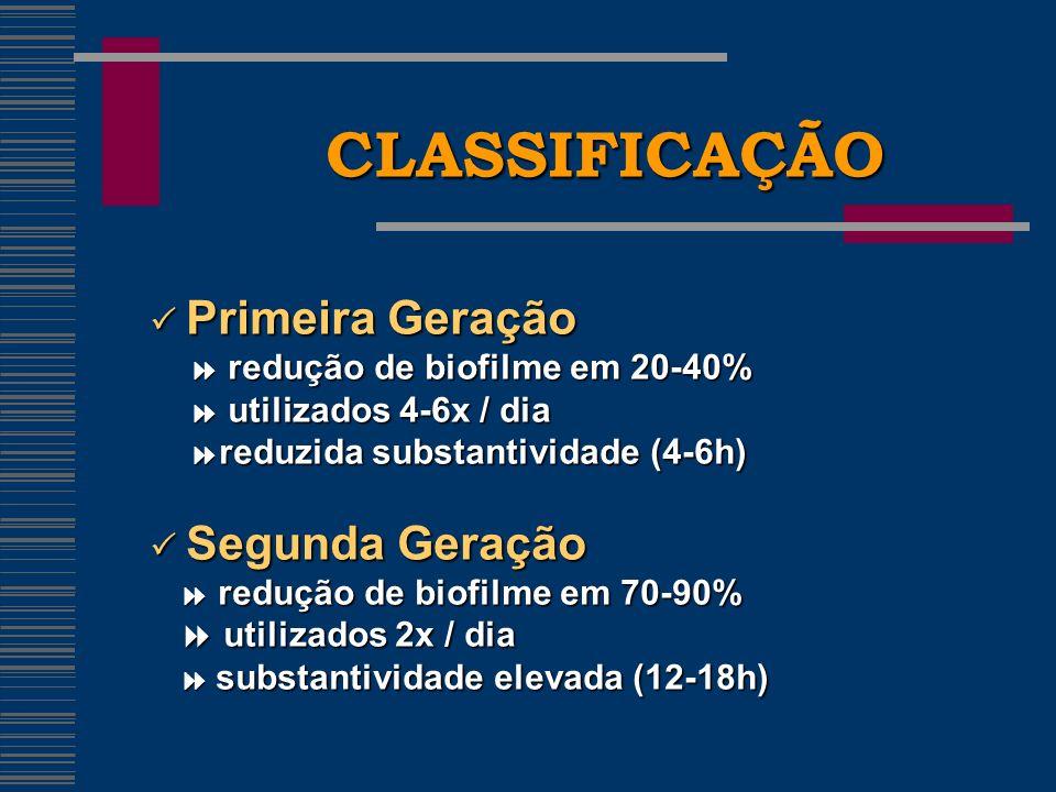 CLASSIFICAÇÃO Primeira Geração Primeira Geração redução de biofilme em 20-40% redução de biofilme em 20-40% utilizados 4-6x / dia utilizados 4-6x / dia reduzida substantividade (4-6h) reduzida substantividade (4-6h) Segunda Geração Segunda Geração redução de biofilme em 70-90% redução de biofilme em 70-90% utilizados 2x / dia utilizados 2x / dia substantividade elevada (12-18h) substantividade elevada (12-18h)