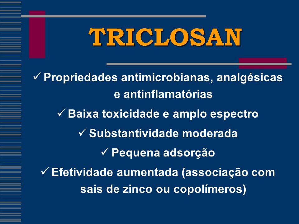 TRICLOSAN Propriedades antimicrobianas, analgésicas e antinflamatórias Baixa toxicidade e amplo espectro Substantividade moderada Pequena adsorção Efetividade aumentada (associação com sais de zinco ou copolímeros)