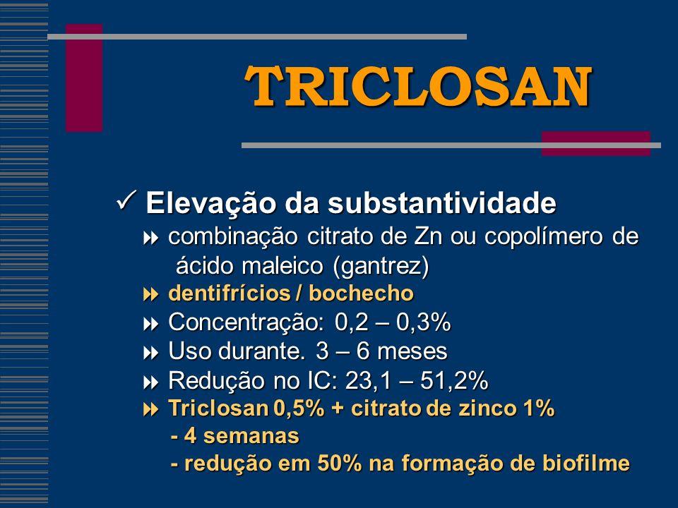 TRICLOSAN Elevação da substantividade Elevação da substantividade combinação citrato de Zn ou copolímero de combinação citrato de Zn ou copolímero de ácido maleico (gantrez) ácido maleico (gantrez) dentifrícios / bochecho dentifrícios / bochecho Concentração: 0,2 – 0,3% Concentração: 0,2 – 0,3% Uso durante.