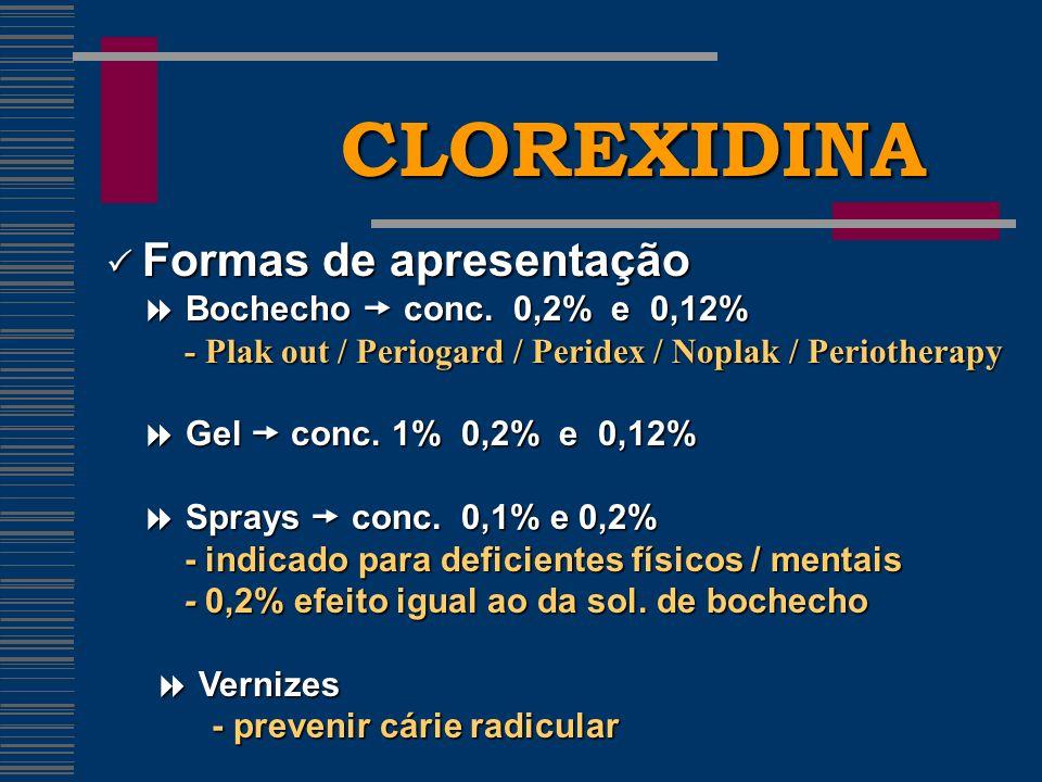 CLOREXIDINA Formas de apresentação Formas de apresentação Bochecho conc.