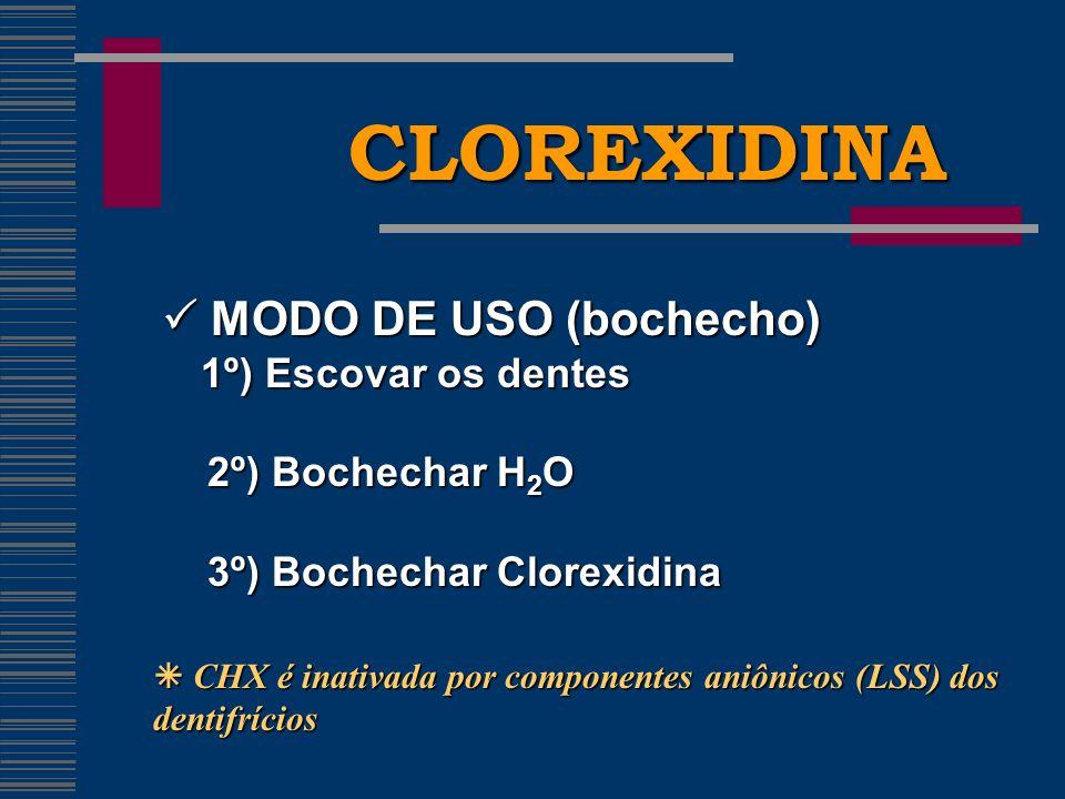 CLOREXIDINA MODO DE USO (bochecho) MODO DE USO (bochecho) 1º) Escovar os dentes 1º) Escovar os dentes 2º) Bochechar H 2 O 2º) Bochechar H 2 O 3º) Bochechar Clorexidina 3º) Bochechar Clorexidina CHX é inativada por componentes aniônicos (LSS) dos dentifrícios CHX é inativada por componentes aniônicos (LSS) dos dentifrícios
