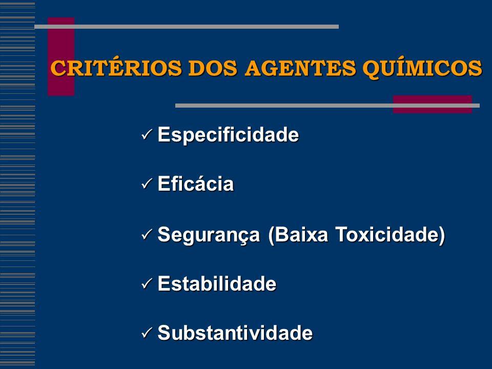 CRITÉRIOS DOS AGENTES QUÍMICOS Especificidade Especificidade Eficácia Eficácia Segurança (Baixa Toxicidade) Segurança (Baixa Toxicidade) Estabilidade Estabilidade Substantividade Substantividade