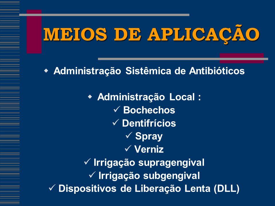 MEIOS DE APLICAÇÃO Administração Sistêmica de Antibióticos Administração Local : Bochechos Dentifrícios Spray Verniz Irrigação supragengival Irrigação subgengival Dispositivos de Liberação Lenta (DLL)