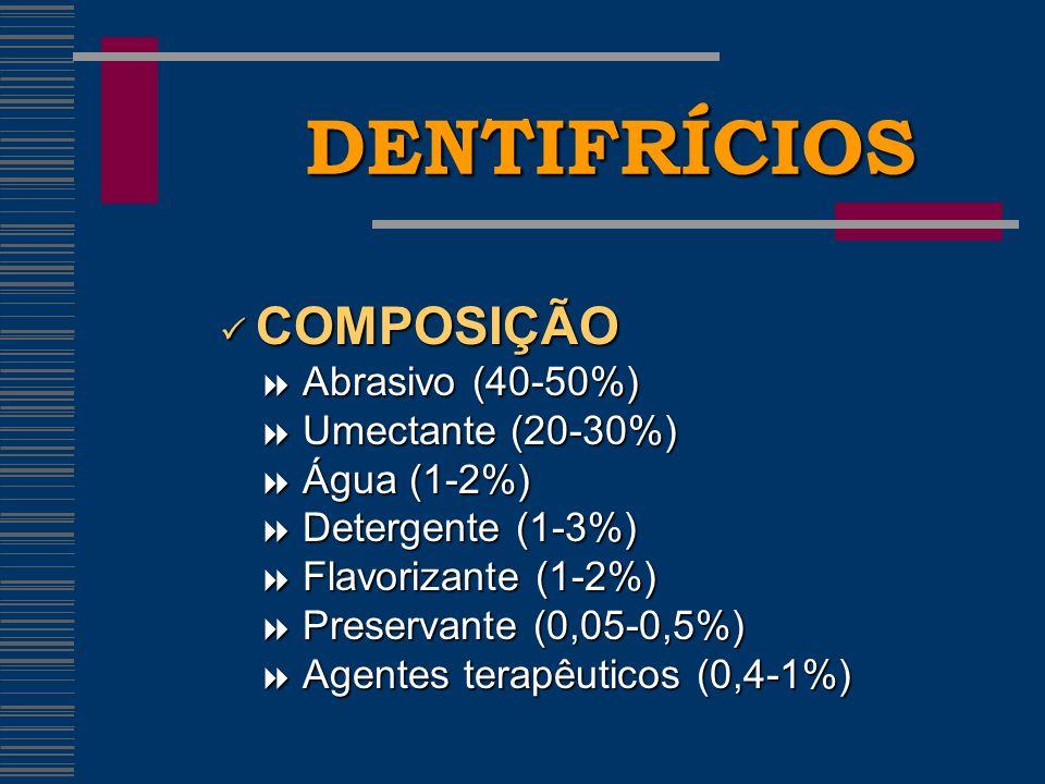 DENTIFRÍCIOS COMPOSIÇÃO COMPOSIÇÃO Abrasivo (40-50%) Abrasivo (40-50%) Umectante (20-30%) Umectante (20-30%) Água (1-2%) Água (1-2%) Detergente (1-3%) Detergente (1-3%) Flavorizante (1-2%) Flavorizante (1-2%) Preservante (0,05-0,5%) Preservante (0,05-0,5%) Agentes terapêuticos (0,4-1%) Agentes terapêuticos (0,4-1%)