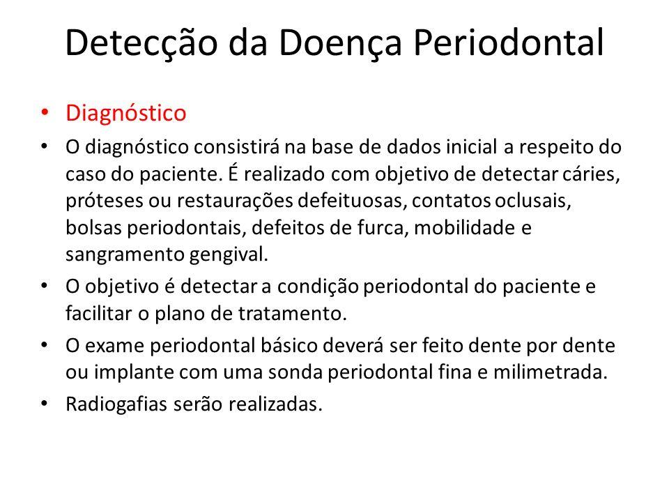 Detecção da Doença Periodontal Diagnóstico O diagnóstico consistirá na base de dados inicial a respeito do caso do paciente. É realizado com objetivo