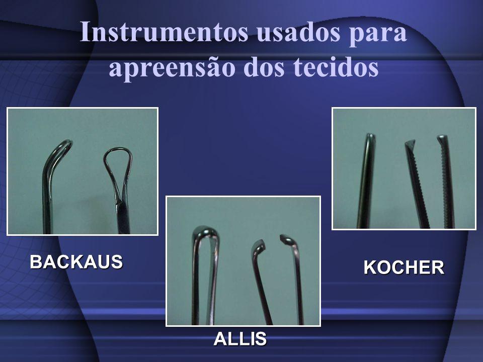 ALLIS KOCHER BACKAUS Instrumentos usados para apreensão dos tecidos