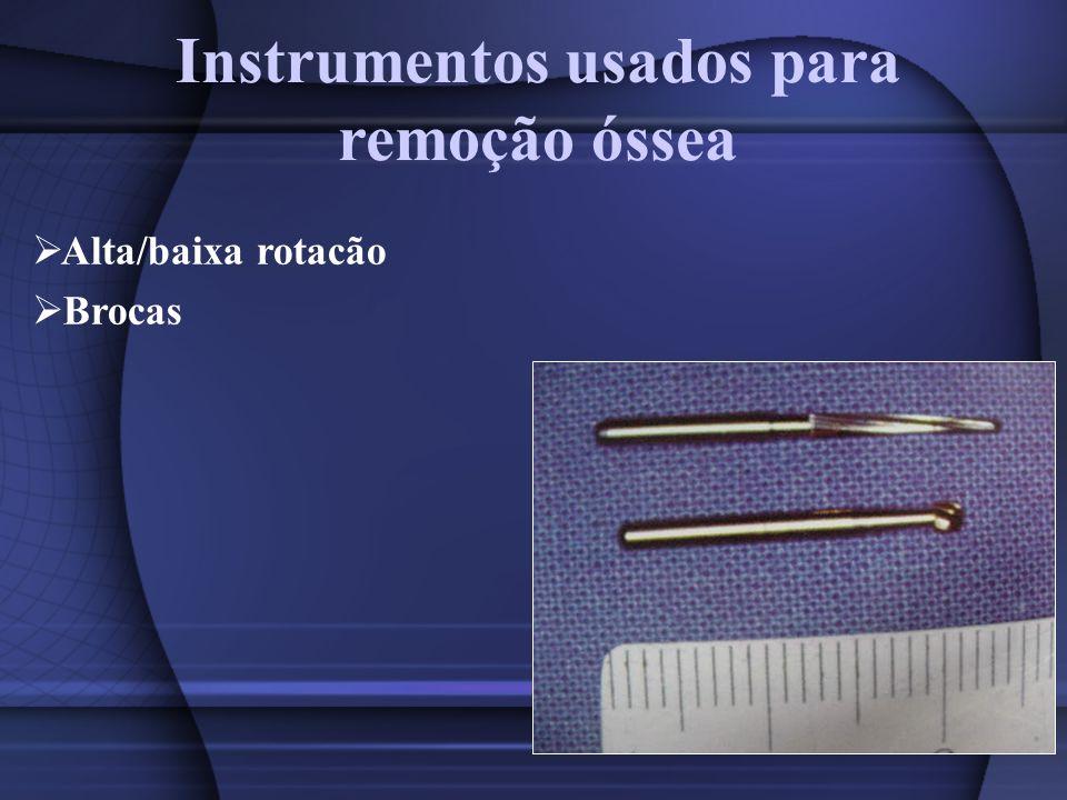 Instrumentos usados para remoção óssea Alta/baixa rotacão Brocas