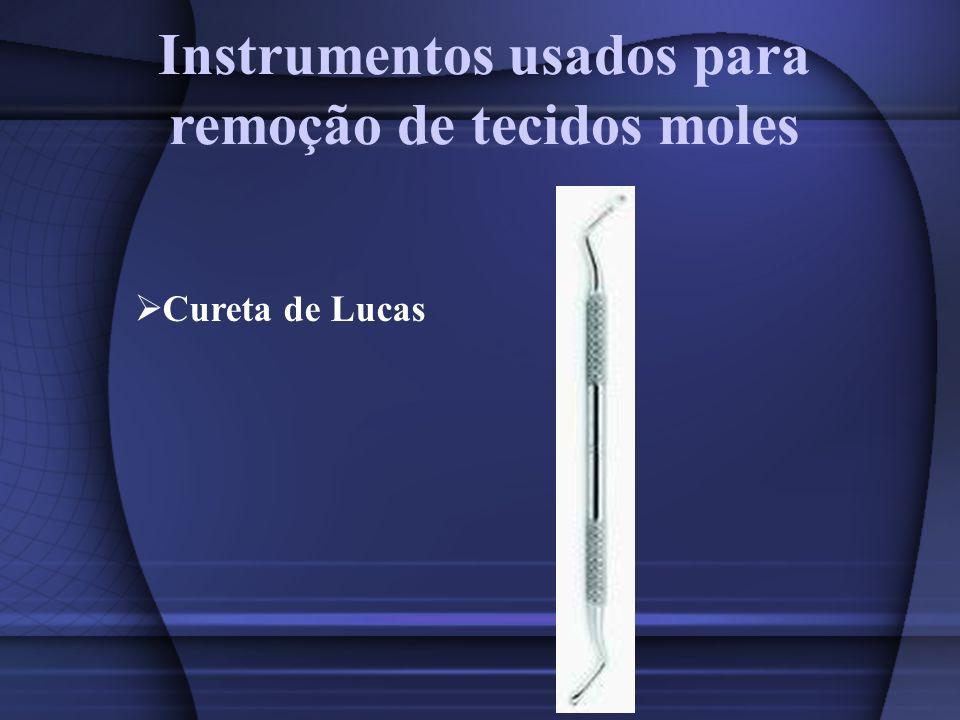 Instrumentos usados para remoção de tecidos moles Cureta de Lucas