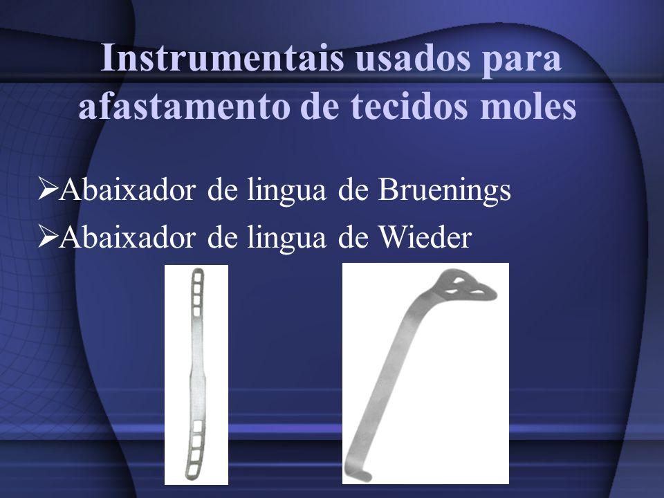 Instrumentais usados para afastamento de tecidos moles Abaixador de lingua de Bruenings Abaixador de lingua de Wieder