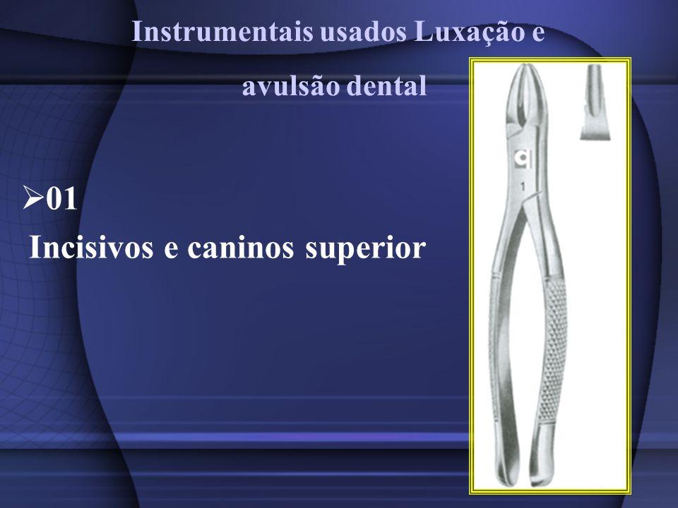 01 Incisivos e caninos superior Instrumentais usados Luxação e avulsão dental