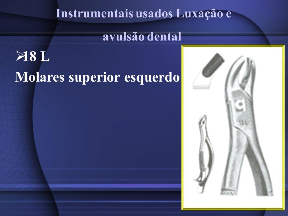 18 L Molares superior esquerdo Instrumentais usados Luxação e avulsão dental