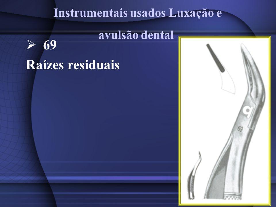 69 Raízes residuais Instrumentais usados Luxação e avulsão dental