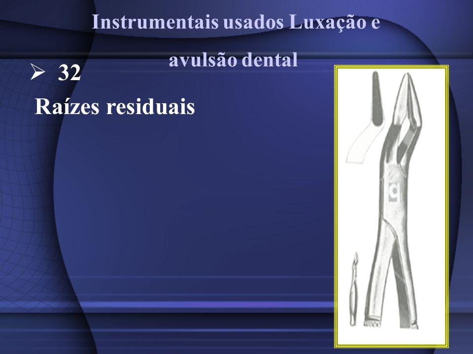 32 Raízes residuais Instrumentais usados Luxação e avulsão dental