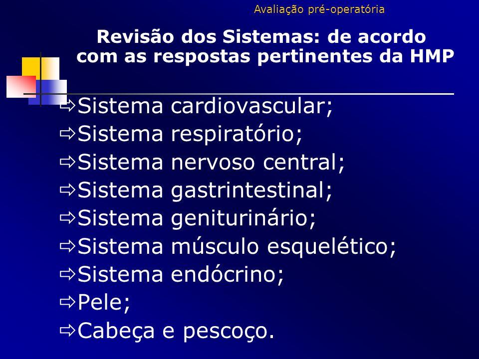 Revisão dos Sistemas: de acordo com as respostas pertinentes da HMP Sistema cardiovascular; Sistema respiratório; Sistema nervoso central; Sistema gas