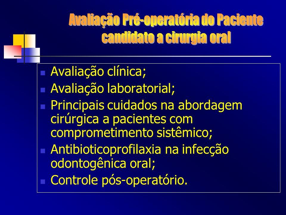 Avaliação clínica; Avaliação laboratorial; Principais cuidados na abordagem cirúrgica a pacientes com comprometimento sistêmico; Antibioticoprofilaxia