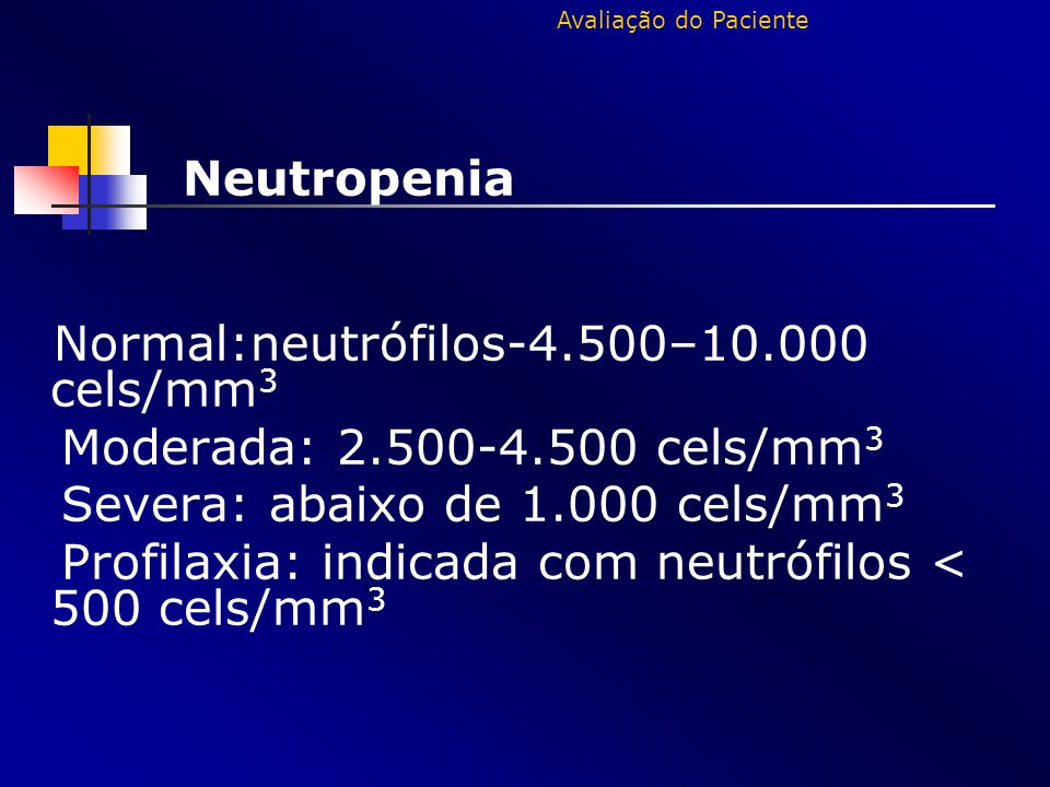 Neutropenia Normal:neutrófilos-4.500–10.000 cels/mm 3 Moderada: 2.500-4.500 cels/mm 3 Severa: abaixo de 1.000 cels/mm 3 Profilaxia: indicada com neutr
