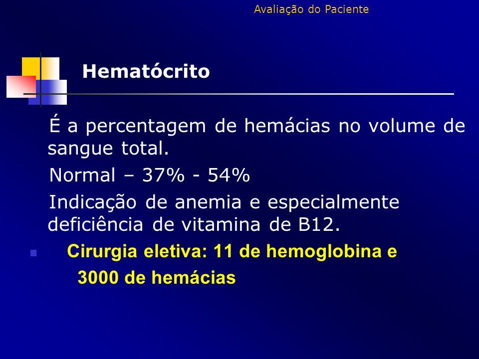 Hematócrito É a percentagem de hemácias no volume de sangue total. Normal – 37% - 54% Indicação de anemia e especialmente deficiência de vitamina de B