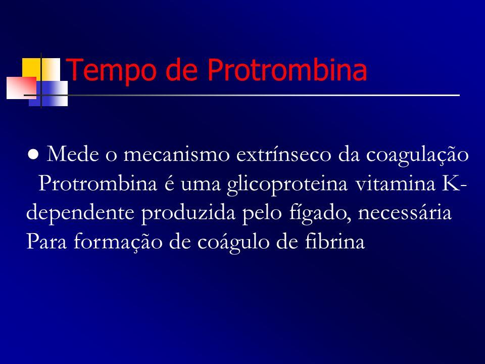 Tempo de Protrombina Mede o mecanismo extrínseco da coagulação Protrombina é uma glicoproteina vitamina K- dependente produzida pelo fígado, necessári