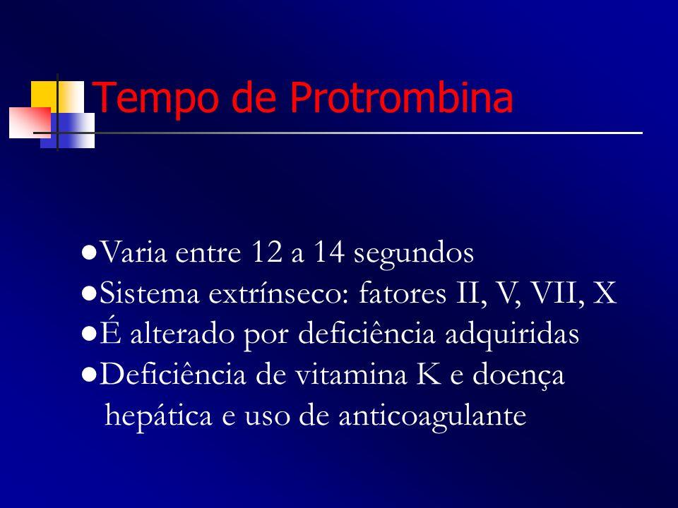 Tempo de Protrombina Varia entre 12 a 14 segundos Sistema extrínseco: fatores II, V, VII, X É alterado por deficiência adquiridas Deficiência de vitam
