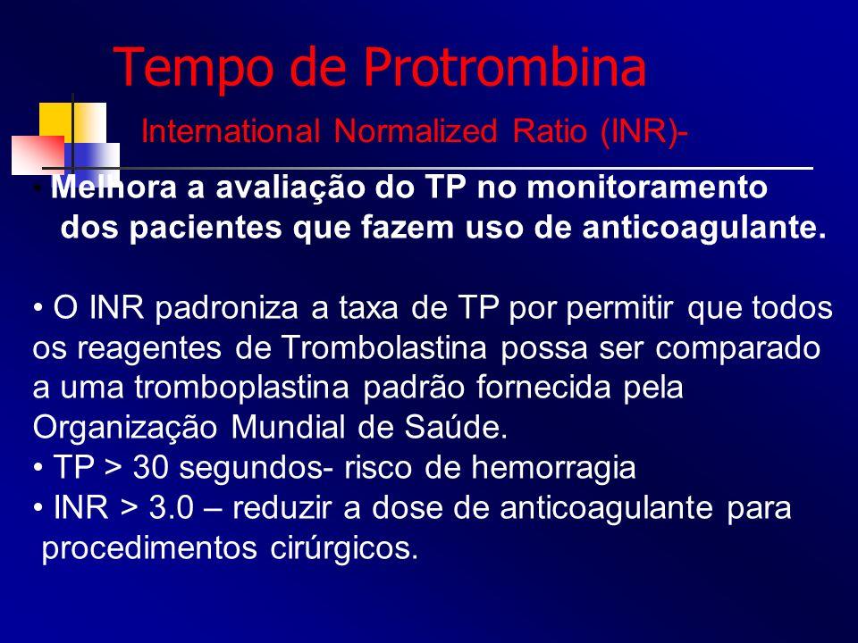 Tempo de Protrombina Melhora a avaliação do TP no monitoramento dos pacientes que fazem uso de anticoagulante. O INR padroniza a taxa de TP por permit