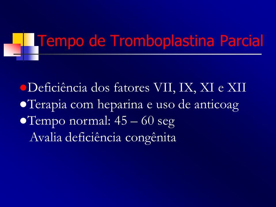 Tempo de Tromboplastina Parcial Deficiência dos fatores VII, IX, XI e XII Terapia com heparina e uso de anticoag Tempo normal: 45 – 60 seg Avalia defi