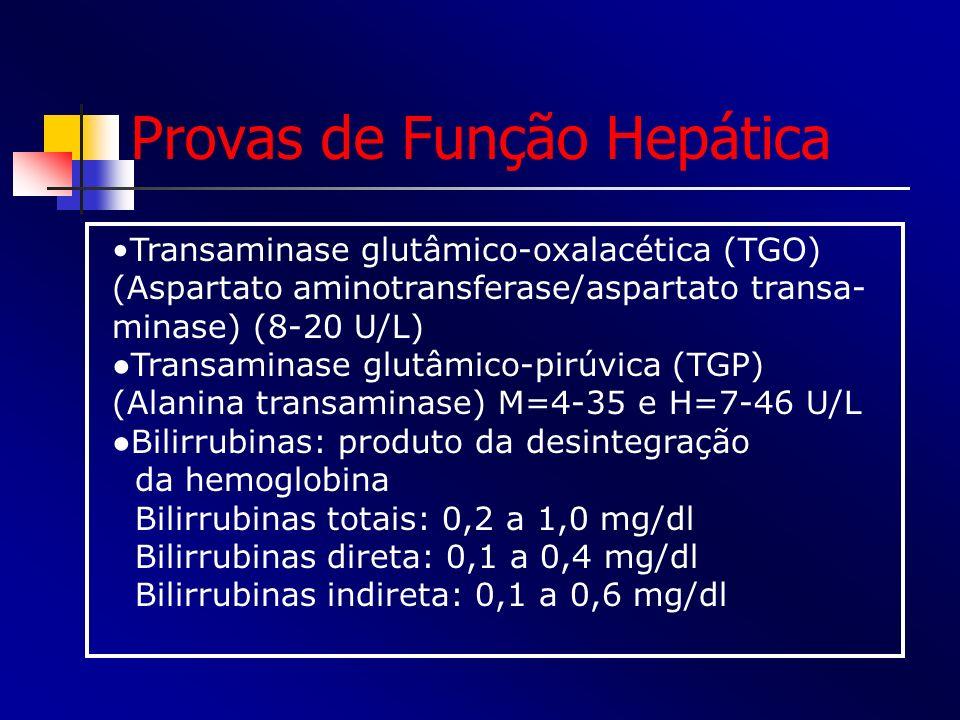 Provas de Função Hepática Transaminase glutâmico-oxalacética (TGO) (Aspartato aminotransferase/aspartato transa- minase) (8-20 U/L) Transaminase glutâ