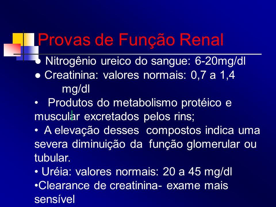 Provas de Função Renal Nitrogênio ureico do sangue: 6-20mg/dl Creatinina: valores normais: 0,7 a 1,4 mg/dl Produtos do metabolismo protéico e muscular