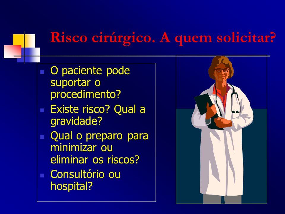 O paciente pode suportar o procedimento? Existe risco? Qual a gravidade? Qual o preparo para minimizar ou eliminar os riscos? Consultório ou hospital?