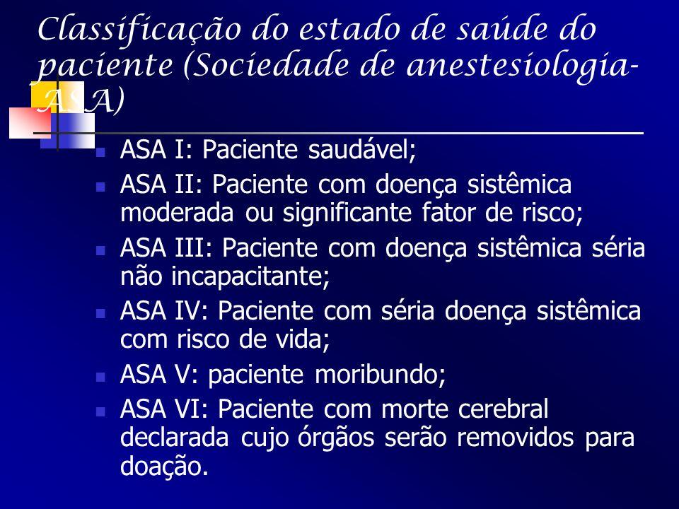 Classificação do estado de saúde do paciente (Sociedade de anestesiologia- ASA) ASA I: Paciente saudável; ASA II: Paciente com doença sistêmica modera