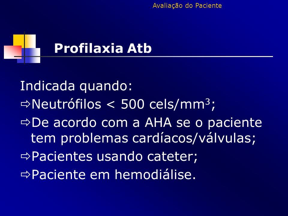 Profilaxia Atb Indicada quando: Neutrófilos < 500 cels/mm 3 ; De acordo com a AHA se o paciente tem problemas cardíacos/válvulas; Pacientes usando cat