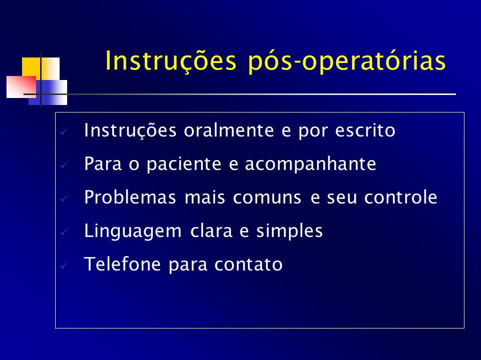 Instruções pós-operatórias Instruções oralmente e por escrito Para o paciente e acompanhante Problemas mais comuns e seu controle Linguagem clara e si