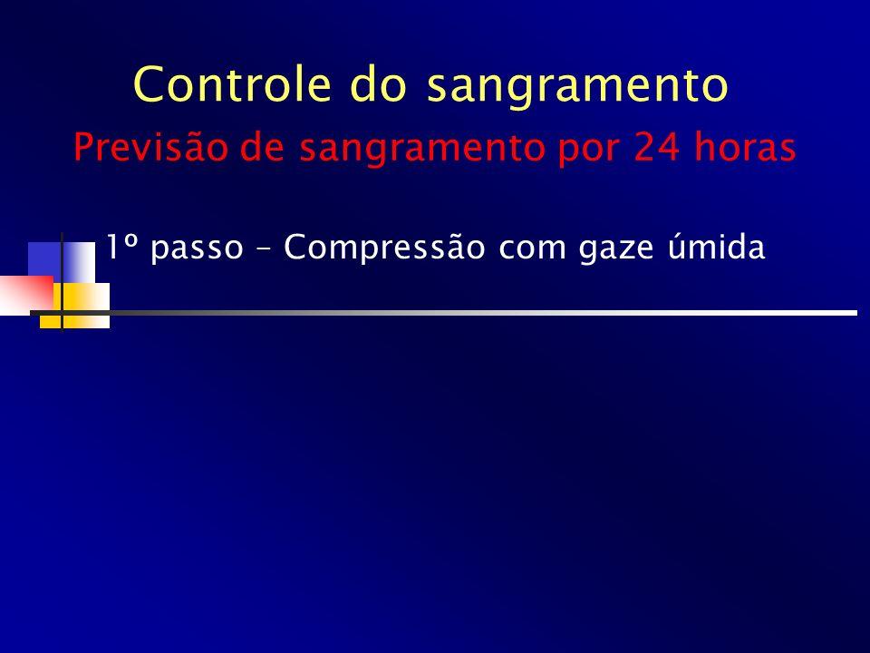 Controle do sangramento 1º passo – Compressão com gaze úmida Previsão de sangramento por 24 horas